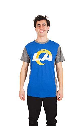 Ultra Game NFL Los Angeles Rams Mens T-Shirt Raglan Block Short Sleeve Tee Shirt, Team Color, X-Large