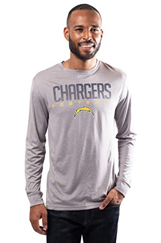 Ultra Game Men's NFL Athletic Quick Dry Long Sleeve T-Shirt, Los Angeles Chargers, Heather Gray, X-Large