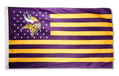 WHGJ Flag for Minnesota Vikings Team 3x5 FT Flag Fade Resistant Super Bowl Stars and Stripes Indoor/Outdoor Sports Banner