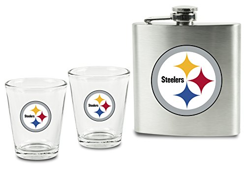 NFL Pittsburgh Steelers Shot Glasses and Brushed Stainless Steel Flask Set