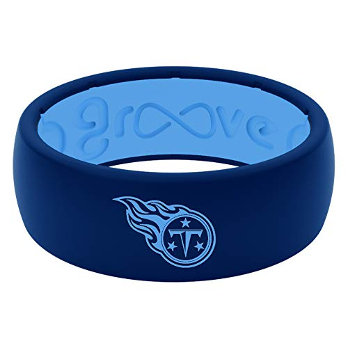 NFL Tennessee Titans - Groove Life Silicone Wedding Ring for Men Breathable Rubber Rings for Men, Lifetime Coverage, Unique Design, Comfort Fit Mens Ring - Original Blue Size 12