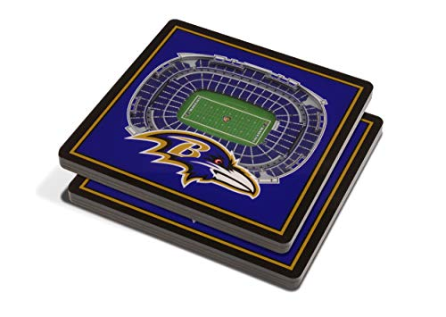 YouTheFan NFL 3D Team StadiumViews 4x4 Coasters - Set of 2, Baltimore Ravens, 4' x 4', Team Color