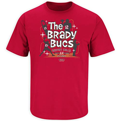 Tampa Bay Football Fans. The Brady Bucs. Red T-Shirt (Sm-5X) (Short Sleeve, Small)