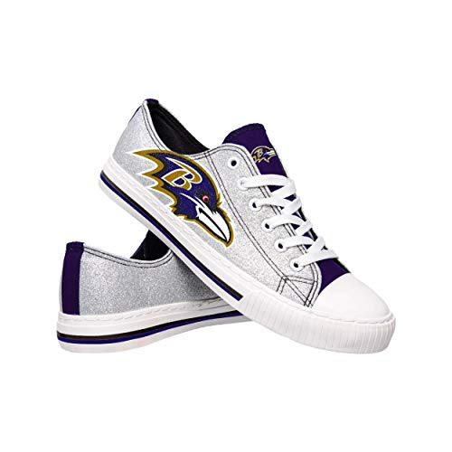 NFL Baltimore Ravens Womens Ladies Glitter Low Top Canvas Sneaker Shoesladies Glitter Low Top Canvas Sneaker Shoes, Team Color, 8/Large
