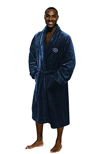 The Northwest Company Officially Licensed NFL Tennessee Titans Men's Silk Touch Lounge Robe, One Size, Navy