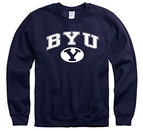 Campus Colors NCAA Adult Arch & Logo Gameday Crewneck Sweatshirt (BYU Cougars - Navy, Adult Large)