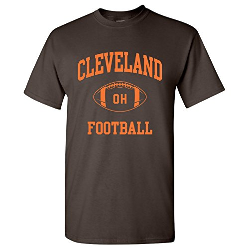 Cleveland Classic Football Arch Basic Cotton T-Shirt - Large - Dark Chocolate
