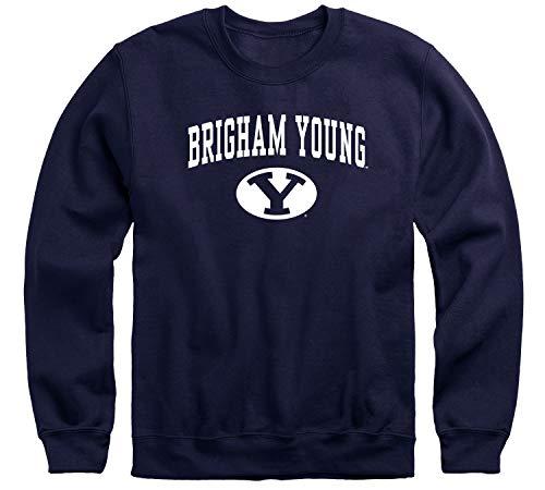 Ivysport Brigham Young University BYU Cougars Adult Unisex Crewneck Sweatshirt, Heritage, Navy, Large