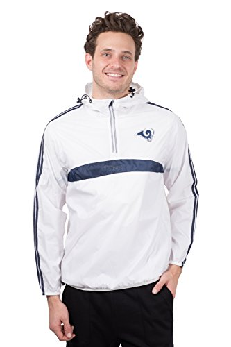Ultra Game NFL Los Angeles Rams Mens Quarter Zip Pullover Hoodie Packable Windbreaker Jacket, White, X-Large