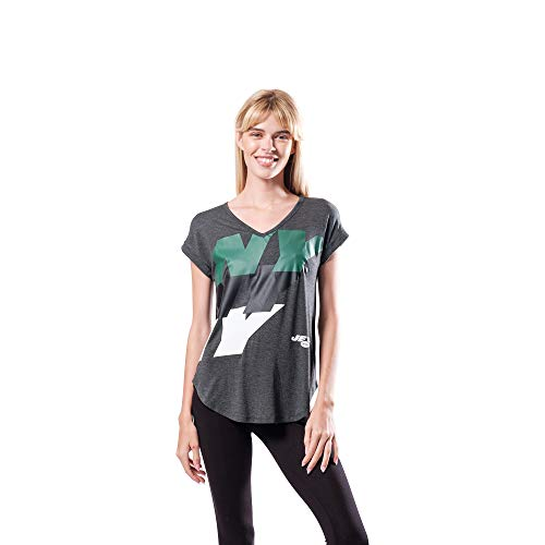 Ultra Game NFL New York Jets Womenss Vintage Stripe Soft Modal Tee Shirt, Charcoal Heather, X-Large