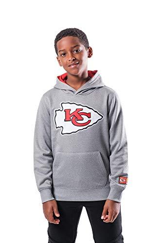 Ultra Game NFL Kansas City Chiefs Youth Extra Soft Poly Dry Fleece Pullover , Heather Gray, Medium