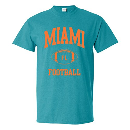 Miami Classic Football Arch Basic Cotton T-Shirt - X-Large - Antique Jade