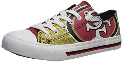 NFL San Francisco 49Ers Womens Ladies Glitter Low Top Canvas Sneaker Shoesladies Glitter Low Top Canvas Sneaker Shoes, Team Color, 9/X-Large