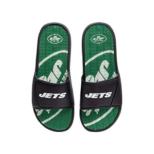 FOCO NFL New York Jets Mens Sport Shower Gel Slide Flip Flop SandalsSport Shower Gel Slide Flip Flop Sandals, Wordmark, XL (13-14) (FFSSNFCBBLGGEL)