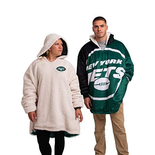 FOCO NFL New York Jets Unisex Reversible Oversized Sherpa Hoodie Sweatshirt Colorblock HoodeezReversible Oversized Sherpa Hoodie Sweatshirt Colorblock Hoodeez, Colorblock, One Size (HDONFSMURBUSQVC)