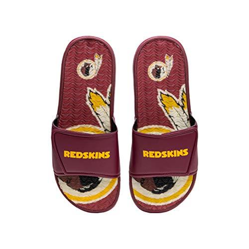 FOCO NFL Washington Redskins Mens Sport Shower Gel Slide Flip Flop SandalsSport Shower Gel Slide Flip Flop Sandals, Wordmark, Small (7-8) (FFSSNFCBBLGGEL)