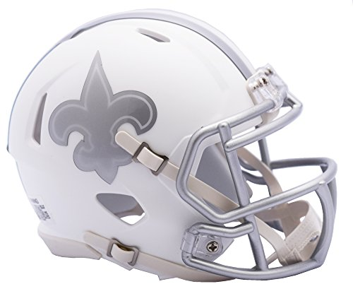 Riddell NFL New Orleans Saints Ice Alternate Speed Mini Replica, Silver, Small