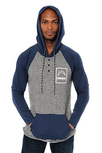 Ultra Game Men's NFL Fleece Hoodie Pullover Sweatshirt Henley, Los Angeles Chargers, Navy, Medium
