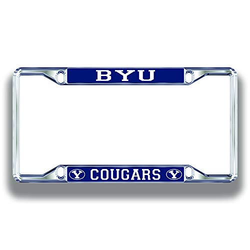 BYU Cougars License Plate Frame Silver
