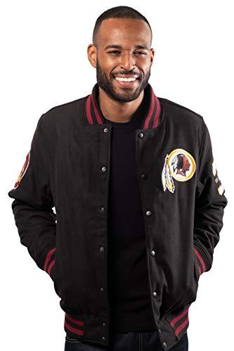 Ultra Game Men's NFL Classic Varsity Coaches Jacket, Washington Redskins, Black, X-Large