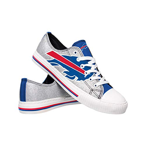 NFL Buffalo Bills Womens Ladies Glitter Low Top Canvas Sneaker Shoesladies Glitter Low Top Canvas Sneaker Shoes, Team Color, 8/Large
