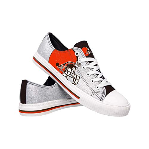 NFL Cleveland Browns Womens Ladies Glitter Low Top Canvas Sneaker Shoesladies Glitter Low Top Canvas Sneaker Shoes, Team Color, 7/Medium