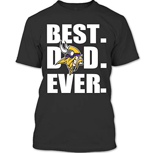 Best Dad Ever T Shirt, Minnesota Vikings T Shirt Unisex (L,Black)