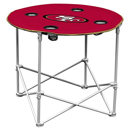 San Francisco 49ers  Collapsible Round Table with 4 Cup Holders and Carry Bag, Multi