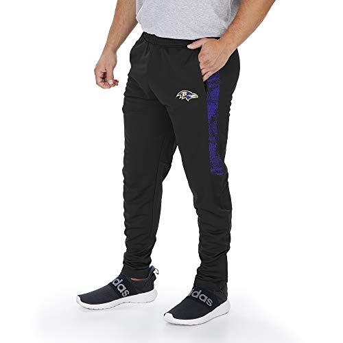 Zubaz NFL Baltimore Ravens Men's Track Pant with Static Half Panels, Solid Black, Large