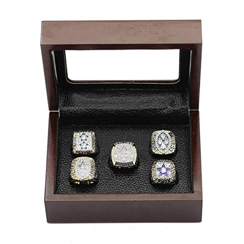 crystal 1st store Dallas Cowboys Supper Bowl Championship Rings Size 11 Display Box Full Set Replica (Wooden box)