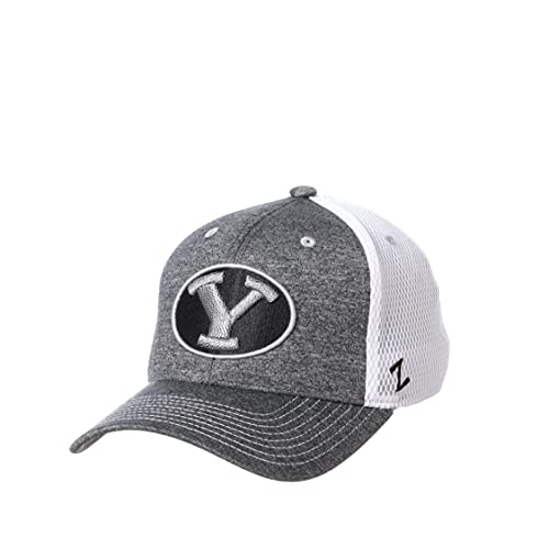 Zephyr NCAA BYU Cougars Mens Fitted Hat Sugarloaf, BYU Cougars Charcoal, Large