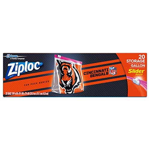Ziploc Slider Storage Gallon Bag, Great for Grab-and-go Snacking, Tailgating or homegating, 20 Count- NFL Cincinnati Bengals