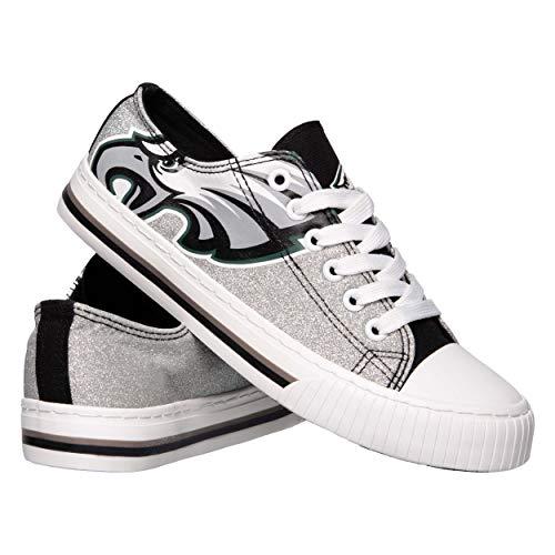 NFL Philadelphia Eagles Womens Ladies Glitter Low Top Canvas Sneaker Shoesladies Glitter Low Top Canvas Sneaker Shoes, Team Color, 9/X-Large