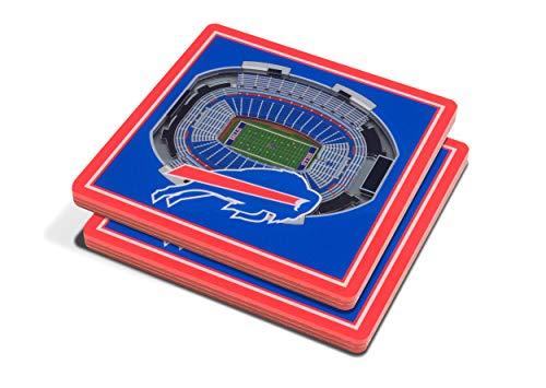 YouTheFan NFL 3D Team StadiumViews 4x4 Coasters - Set of 2, Buffalo Bills, 4' x 4', Team Color