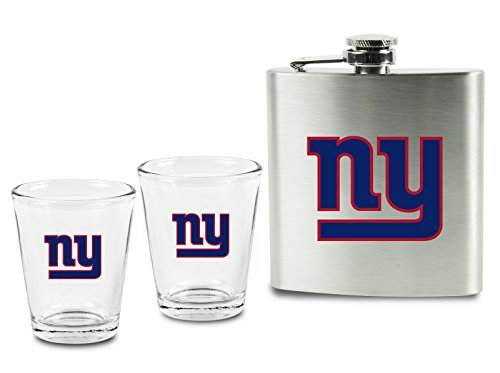 Pro Specialties Group (PSG) NFL New York Giants Shot Glasses &  Brushed Stainless Steel Flask Set
