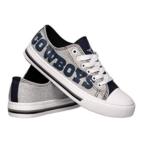 FOCO NFL Dallas Cowboys Women's Ladies Glitter Low Top Canvas Sneaker Shoes, Team Color, 7/M