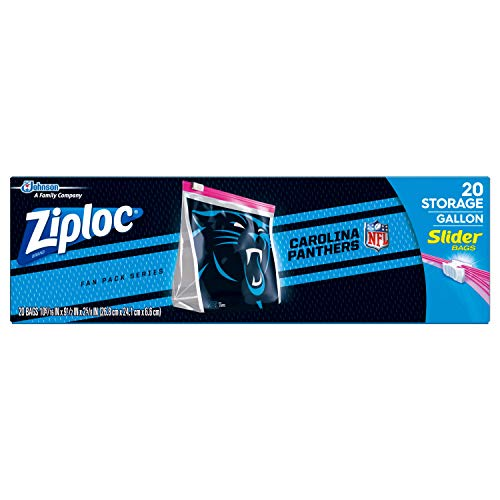 Ziploc Slider Storage Gallon Bag, Great for Grab-and-go Snacking, Tailgating or homegating, 20 Count- NFL North Carolina Panthers