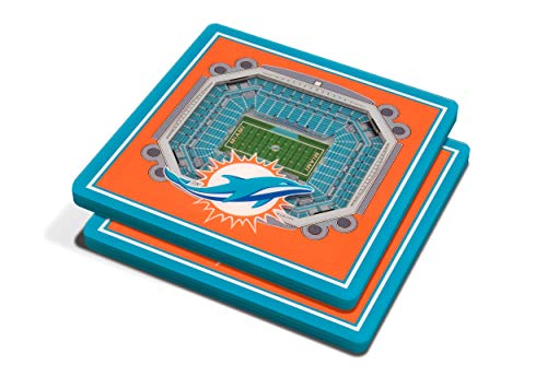 YouTheFan NFL 3D Team StadiumViews 4x4 Coasters - Set of 2, Miami Dolphins, 4' x 4', Team Color