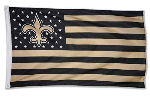 WHGJ NFL New Orleans Saints 3X5 FT USA Double Side Fade Resistant Flag Sports Banner Indoor and Outdoor