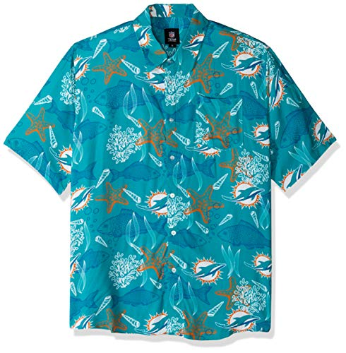 Miami Dolphins NFL Mens Floral Button Up Shirt - XL