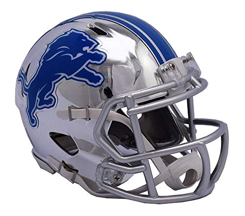 Detroit Lions - Chrome Alternate Speed Riddell Mini Football Helmet - New in Riddell Box