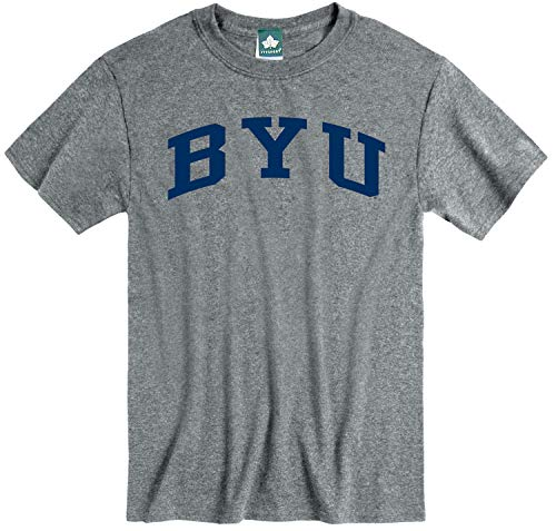 Ivysport Brigham Young University BYU Cougars Short Sleeve Adult Unisex T-Shirt, Classic, Charcoal Grey, Medium