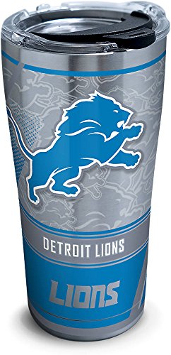 Tervis 1266042 NFL Detroit Lions Edge Stainless Steel Tumbler with Clear and Black Hammer Lid 20oz, Silver