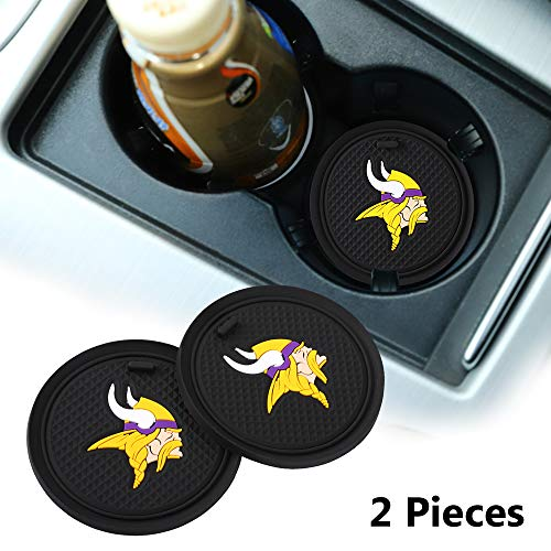 2 Pack 2.75 inch for Minnesota Vikings Car Interior Accessories Anti Slip Cup Mat for All Vehicles (Minnesota Vikings)