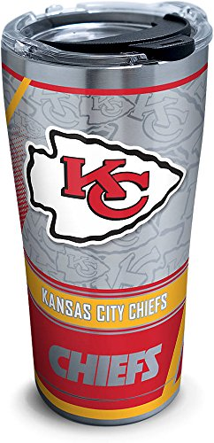 Tervis 1266654 NFL Kansas City Chiefs Edge Stainless Steel Tumbler with Clear and Black Hammer Lid 20oz, Silver
