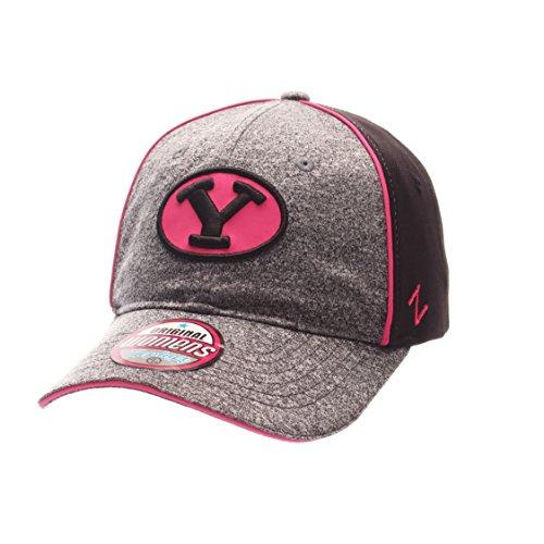 NCAA Zephyr Byu Cougars Womens Fierce Performance Hat, Adjustable, Heather Gray/Black
