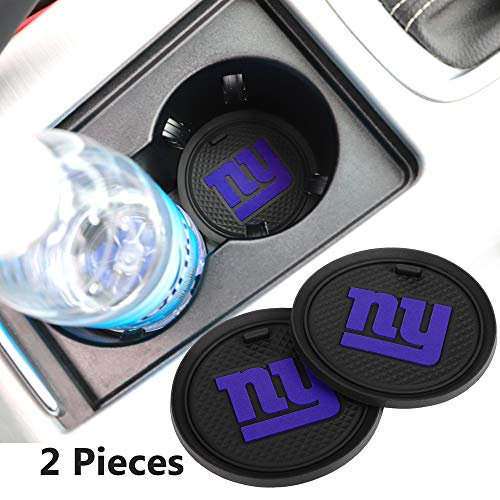 2 Pack 2.75 inch for New York Giants Car Interior Accessories Anti Slip Cup Mat for All Vehicles (New York Giants)