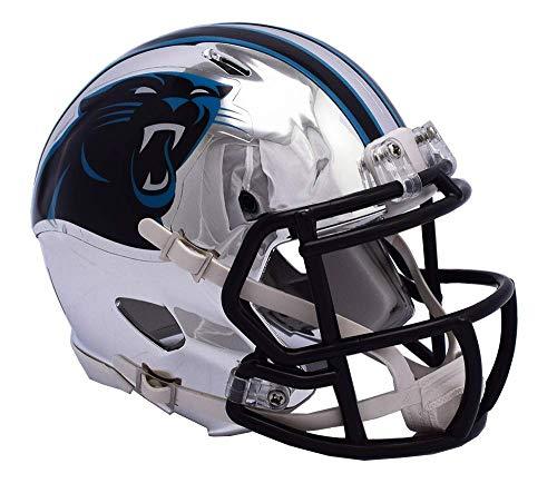 Carolina Panthers - Chrome Alternate Speed Riddell Mini Football Helmet - New in Riddell Box