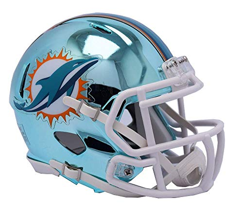 Miami Dolphins - Chrome Alternate Speed Riddell Mini Football Helmet - New in Riddell Box