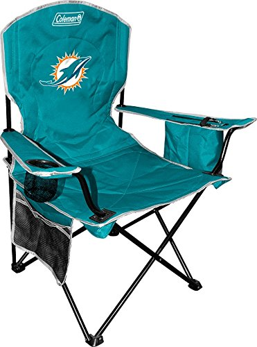 Coleman NFL Cooler Quad Folding Tailgating & Camping Chair with Built in Cooler and Carrying Case, Miami Dolphins